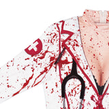 Women Creepy Bloody Internal Organs Print Halloween Costume White