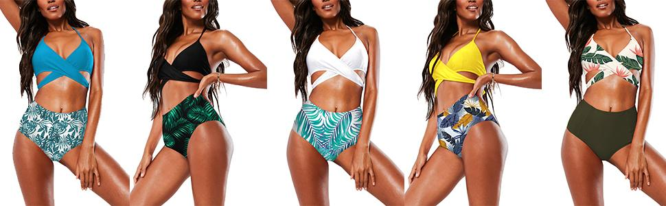 Halter Cross Wrap Bandage Push Up Printed High Waisted 2 Piece Bikini