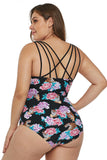 Tiger Floral Push-Up Plus Size One-Piece Swimsuit