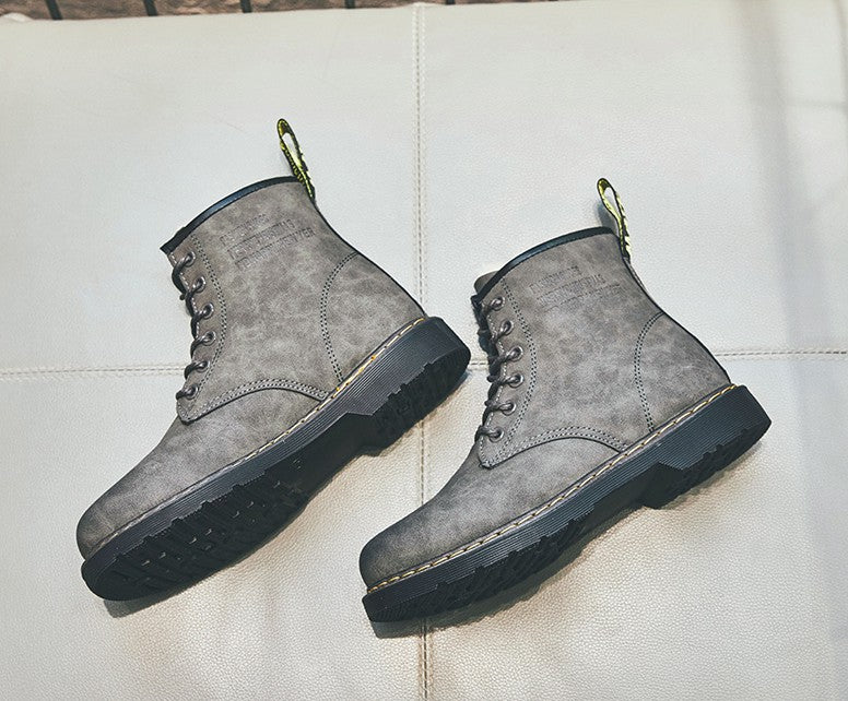 Martin Boots Versatile High Top Women's Plush Shoes Black Gray Khaki