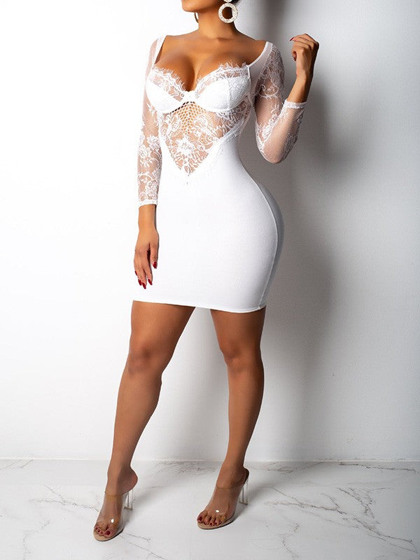 Sexy Off Shoulder Long Sleeve Lace Sheer Plain Bodycon Mini Dress White