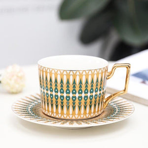 English Vintage Pattern Ceramic Coffee Cup Saucer