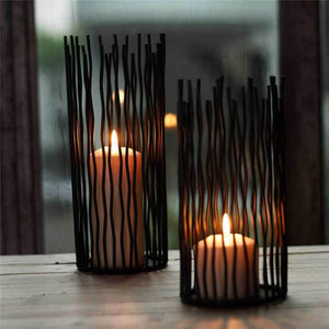 Black Bohemian Metal Candle Holders