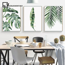 Load image into Gallery viewer, Watercolor Leaves Wall Art Canvas Painting