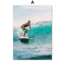 Load image into Gallery viewer, Surfing Girl Bridge Sea Beach Wall Art Canvas