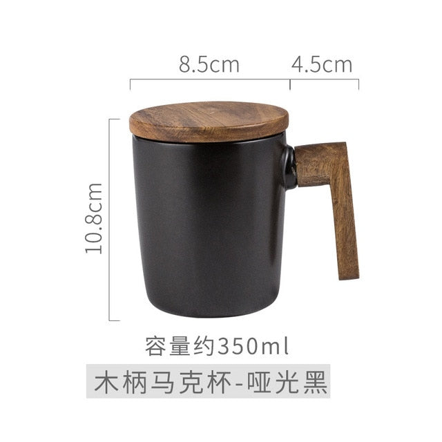 Gift Mugs Wooden Handle with Cover