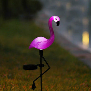 Solar Power Pink Flamingo Lawn Garden Outdoor Light