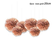 Load image into Gallery viewer, Rose Gold Flowers Decorative Tissue Paper 6pcs