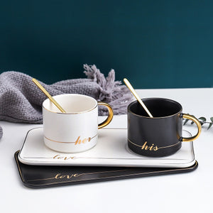 Gold Traced Ceramic Coffee Cup With Spoon