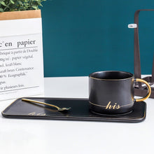 Load image into Gallery viewer, Gold Traced Ceramic Coffee Cup With Spoon