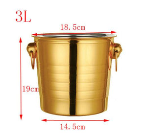 European Style Gold & Silver Stainless Steel Large Ice Bucket