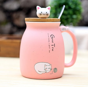 Cartoon Ceramic Cat Mug with Lid