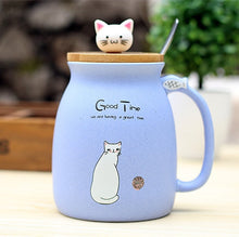 Load image into Gallery viewer, Cartoon Ceramic Cat Mug with Lid