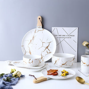 White Black Marble Glazes Ceramic Tableware Set