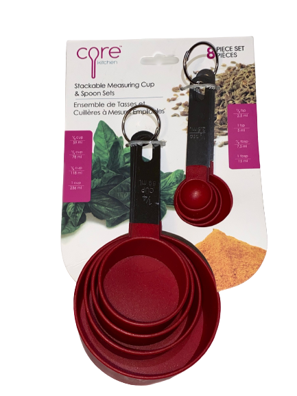 Core Kitchen Red Stackable Measuring Cups and Spoons Set