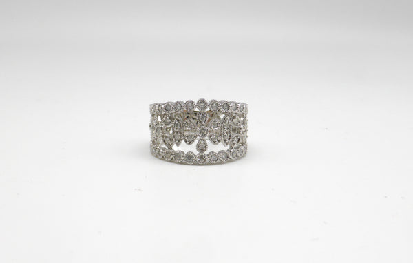 14K ladies filigree diamond ring