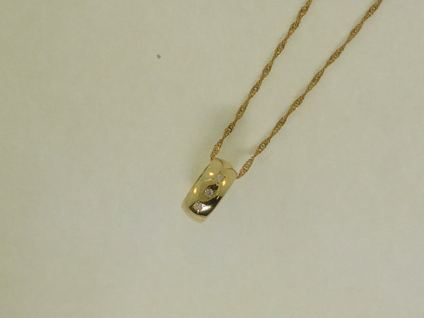 14K Yellow Gold Diamond Doughnut Pendant