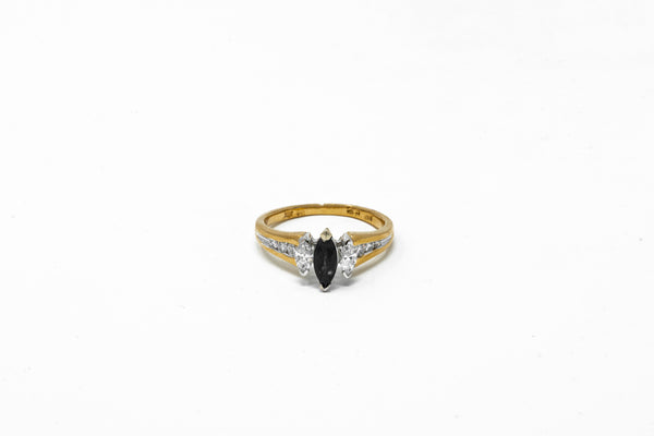 10k Yellow Gold Blue Sapphire and Diamond Ring