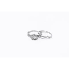 14K White Gold Diamond Engagement Ring and Matching Wedding Band