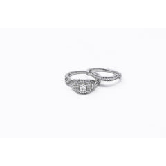 14K White Gold Ladies Diamond Engagement Set