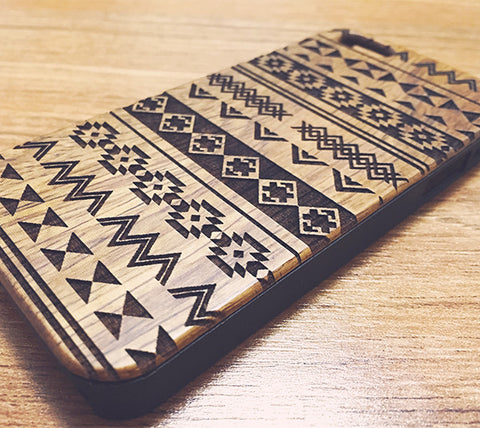 Native Ethnic Natural Wood Engraved iPhone 6s Case iPhone 6s plus Cover iPhone 6 5s 5 Real Wooden Case - Acyc - 1