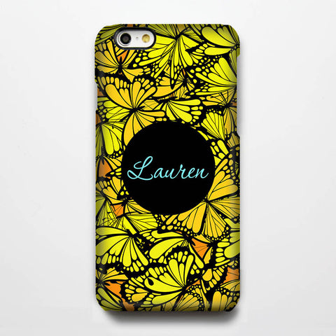 Butterfly Yellow Customize iPhone 6s Plus 6 5S 5 5C 4 Dual Layer Durable Tough Case#206 - Acyc - 1