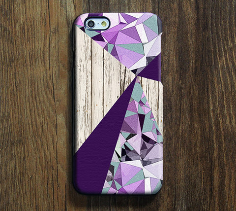 Purple Geometric Design iPhone 6S Plus 6S 6 5S 5C 5 4 Dual Layer Durable Tough Case #255 - Acyc - 1