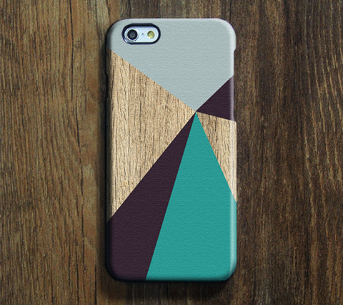 Natrual Wood Geometric Men iPhone 6S Plus 6S 5S 5 5C 4 Dual Layer Durable Tough Case #263 - Acyc - 1