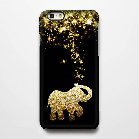 Gold Glitter Stars Elephant iPhone 6 Case/Plus/5S/5C/5 Teen Dual Layer Durable Tough Case #272 - Acyc - 1
