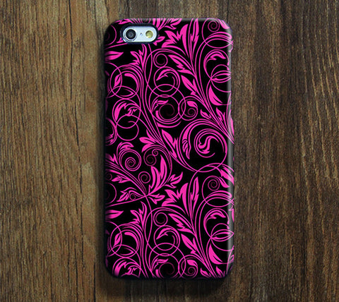 Classic Black and Pink Floral iPhone 6 Case/Plus/5S/5C/5/4S Dual Layer Durable Tough Case #299 - Acyc - 1