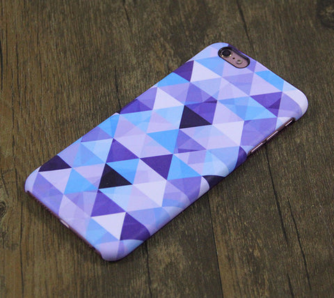 Violet Blue Triangle Geometric Design iPhone 6s Case/Plus/5S/5C/5/4S Dual Layer Durable Tough Case #367 - Acyc - 1