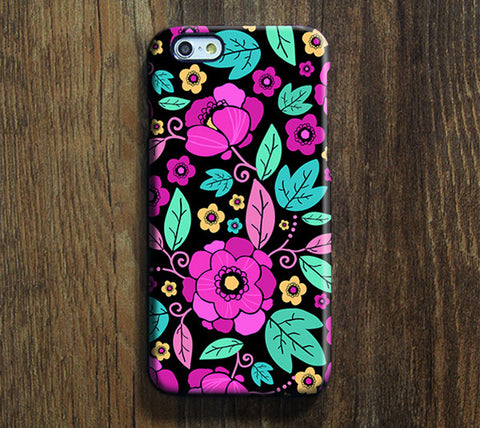 Turquoise Pink Floral Pattern iPhone 6 Plus/6/5S/5C/5/4S/4 Protective Case #381 - Acyc - 1