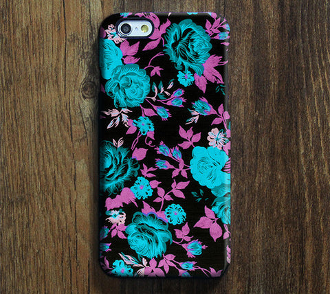 Elegant Teal Black Floral Pattern iPhone 6S Plus/6/5S/5C/5/4S/4 Dual Layer Durable Tough Case #388 - Acyc - 1