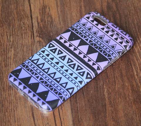 Tribal Violet Turquoise Print iPhone 6s 6 Tough Case/Plus/5S/5C/5/SE Dual Layer Case #860 - Acyc - 1