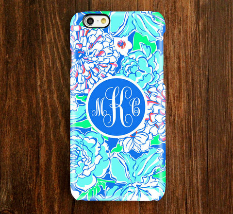 Floral Blue Monogram iPhone Case and Samsung Case 921 - Acyc - 1