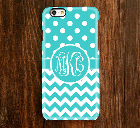 Teal Chevron Polka Dots Monogram iPhone 6 Plus 6 5S 5C 5 4 Protective Case 928 - Acyc - 1