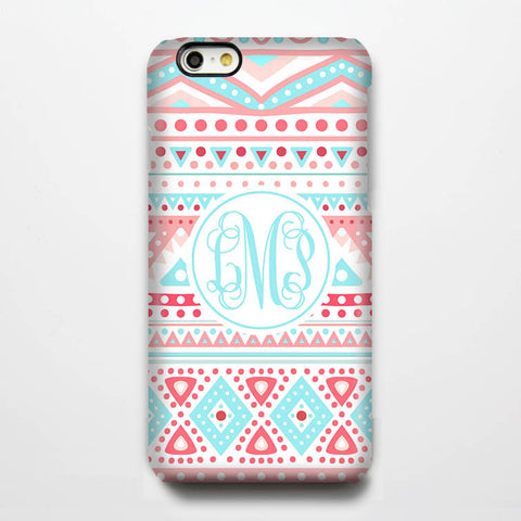 Teal Coral Monogram iPhone 6S Plus 6S 6 5S 5 5C 4 Dual Layer Durable Tough Case #935-B - Acyc - 1