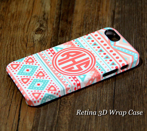 Turquoise Pink Monogram iPhone 6s Plus/6 Plus/5S/5C/5/4S/4 Clear Rubber Tough Case #935 - Acyc - 1