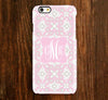 Pink Floral Pattern Monogram iPhone Case and Samsung Case 938 - Acyc - 1