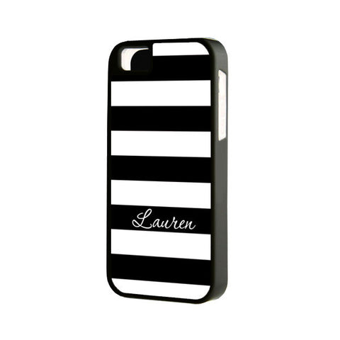 Black and White Stripes Monogram iPhone 6 Plus 6 5S 5 5C 4S 4S 4 Tough Case 940 - Acyc - 1