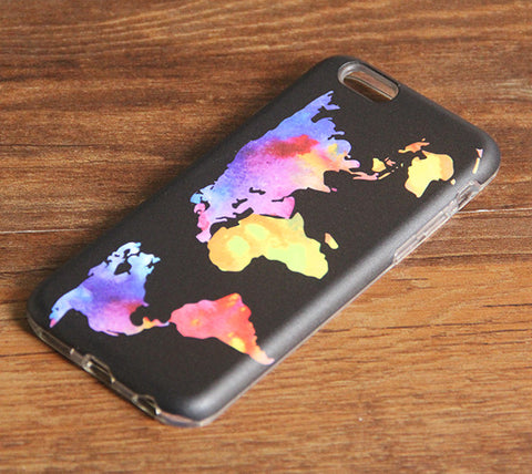 Watercolor World Map iPhone 6s 6 Case/Plus/5S/5C/5/4S Dual Layer Durable Tough Case #940 - Acyc - 1