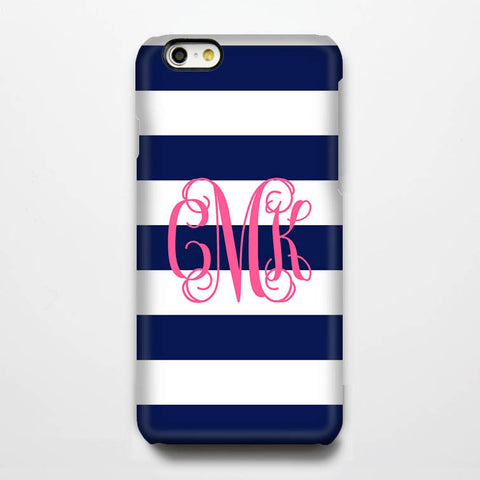 Navy Stripes Pink Monogram iPhone 6s 6 Plus 5S 5 5C Dual Layer Durable Tough Case #941 - Acyc - 1