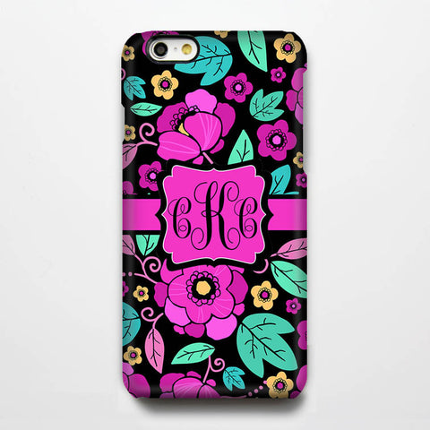 Turquoise Pink Floral Monogram iPhone 6S Plus 6S 6 5S 5 5C 4 Dual Layer Durable Tough Case #950 - Acyc - 1