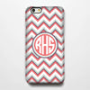 Coral Chevron Monogram iPhone 6S Plus 6S 6 5S 5C 5 4 Dual Layer Durable Tough Case #966 - Acyc - 1
