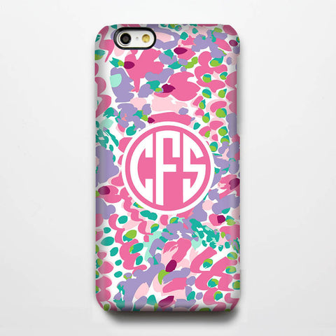 Coral Pink Pattern Monogram iPhone 6S 6 Plus 6 5S 5C 5 4 Dual Layer Durable Tough Case #972 - Acyc - 1
