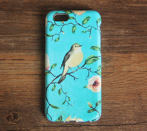 Turquoise Floral Birds iPhone 6s 6 Case/Plus/5S/5C/5/4S Dual Layer Durable Tough Case #976 - Acyc - 1
