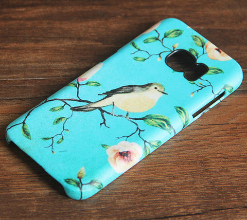 Turquoise Floral Birds Samsung Galaxy S7 Edge/S7/S6 Edge Plus/S6 Edge/S6/S5/S4/Note 5/Note 4/Note 3 Case 976 - Acyc - 1