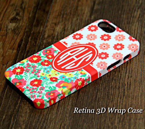 Red Flowers Pattern Monogram iPhone 6S Plus 6S 6 5S 5C 5 4 Dual Layer Durable Tough Case #976 - Acyc - 1