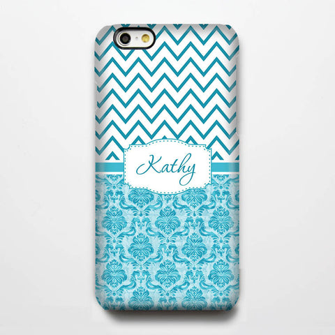 Classic Damask Chevron Monogram iPhone 6S Plus 6S 6 5S SE 5C Dual Layer Durable Tough Case #987 - Acyc - 1