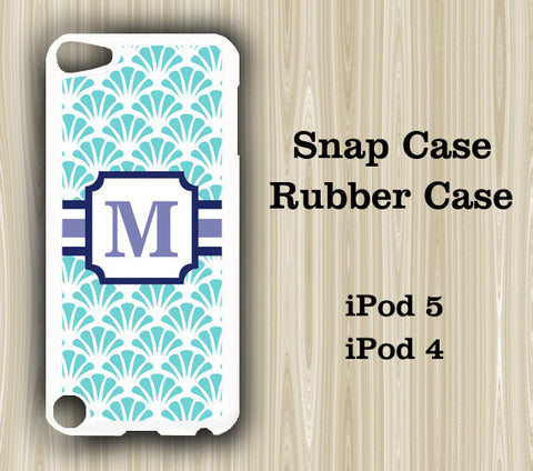 Asian Floral Aqua Monogram iPod Touch 5 Case iPod Touch 4 Case - Acyc - 1